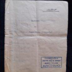 Antigüedades: LIBRETO DE LA ACTRIZ ASTOR DE LA OBRA MARIQUILLA TERREMOTO. S XIX. LEER DESCRIPCIÓN ANTES DE PUJAR.. Lote 218475420