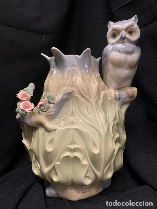 Antigüedades: Extraordinario jarron porcelana, con buho o lechuza. Precioso color. Porceval. 30cms. Impecable - Foto 2 - 218484690