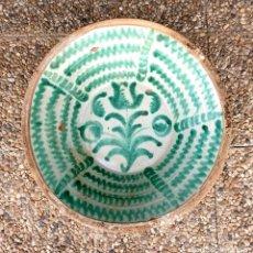 Antiquités: MAGNIFICO LEBRILLO EN CERAMICA DE FAJALAUZA,(GRANADA),S. XIX. Lote 218494665