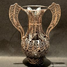 Antigüedades: ANTIGUO JARRON EN FILIGRANA DE PLATA. Lote 218529566