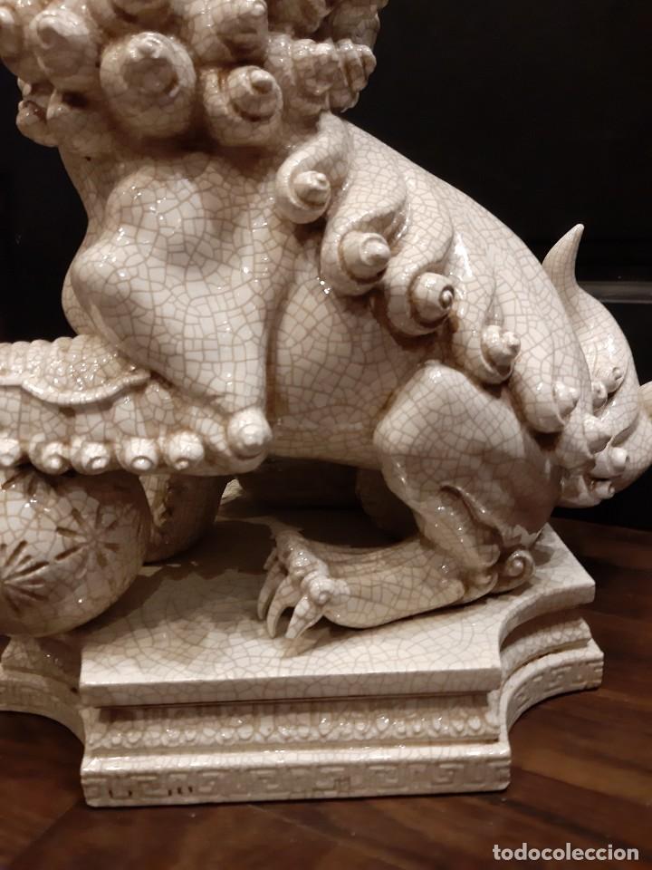 Antigüedades: LEON CHINO FIRMADO ALGORA 40X38X25 Cms / NECESITA RESTAURACIÓN / NO ENVIO (G) - Foto 6 - 218541068
