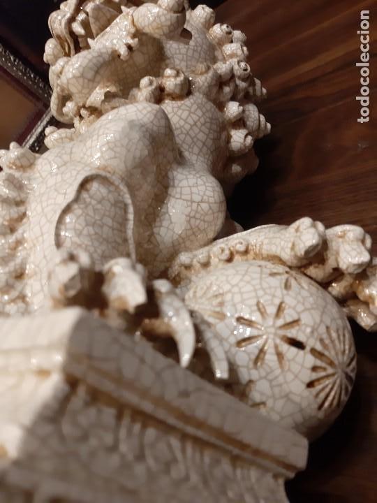 Antigüedades: LEON CHINO FIRMADO ALGORA 40X38X25 Cms / NECESITA RESTAURACIÓN / NO ENVIO (G) - Foto 7 - 218541068