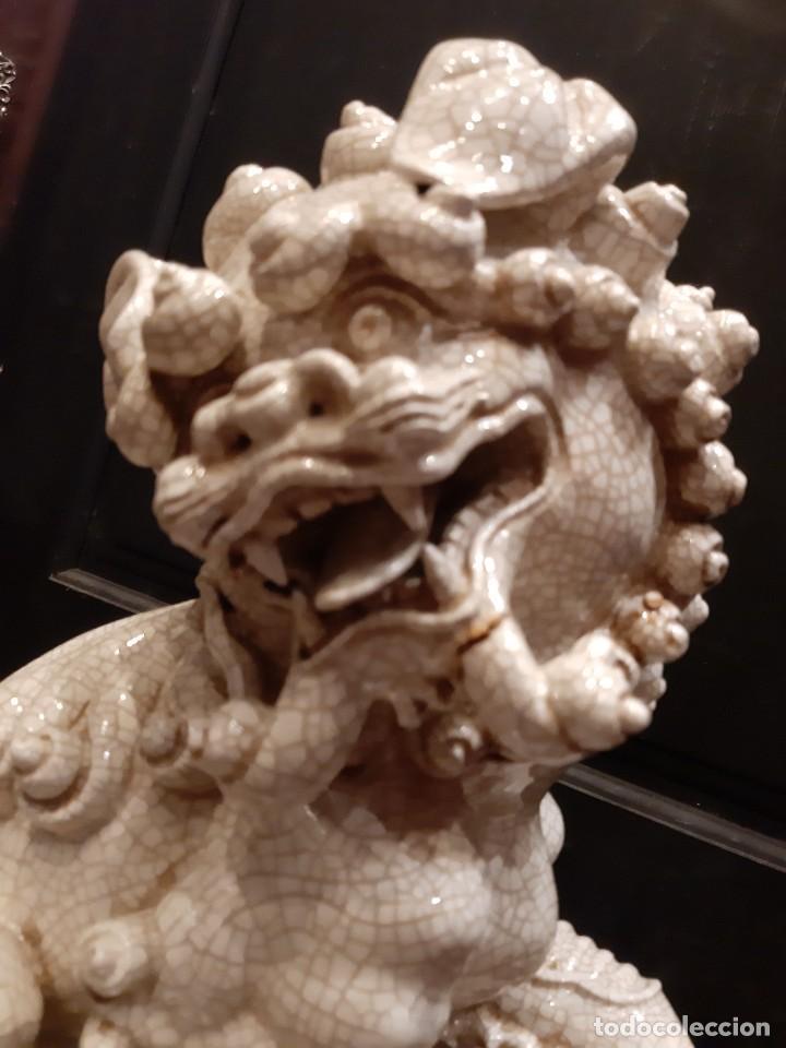 Antigüedades: LEON CHINO FIRMADO ALGORA 40X38X25 Cms / NECESITA RESTAURACIÓN / NO ENVIO (G) - Foto 14 - 218541068