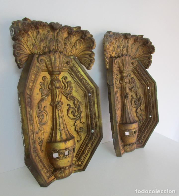 Antigüedades: Antigua Pareja de Paneles para Apliques, Decoración - Bronce Cincelado - 20 Kg Unidad - S. XIX - Foto 2 - 218560271
