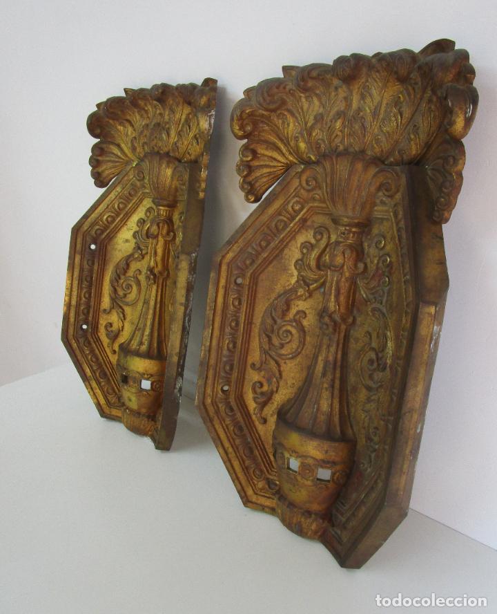 Antigüedades: Antigua Pareja de Paneles para Apliques, Decoración - Bronce Cincelado - 20 Kg Unidad - S. XIX - Foto 3 - 218560271