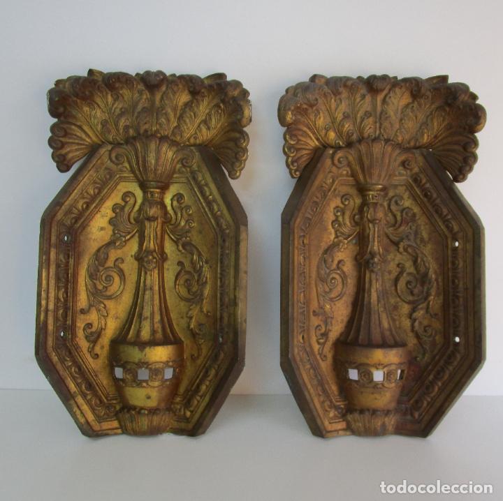 Antigüedades: Antigua Pareja de Paneles para Apliques, Decoración - Bronce Cincelado - 20 Kg Unidad - S. XIX - Foto 4 - 218560271