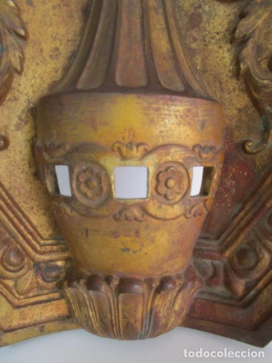 Antigüedades: Antigua Pareja de Paneles para Apliques, Decoración - Bronce Cincelado - 20 Kg Unidad - S. XIX - Foto 7 - 218560271