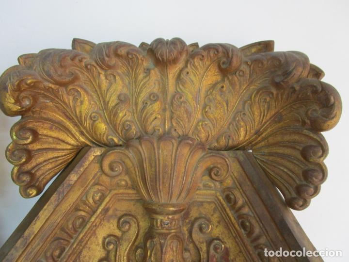 Antigüedades: Antigua Pareja de Paneles para Apliques, Decoración - Bronce Cincelado - 20 Kg Unidad - S. XIX - Foto 10 - 218560271