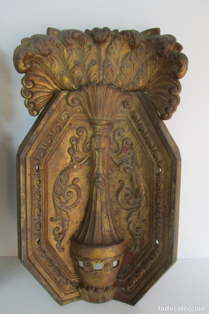 Antigüedades: Antigua Pareja de Paneles para Apliques, Decoración - Bronce Cincelado - 20 Kg Unidad - S. XIX - Foto 14 - 218560271