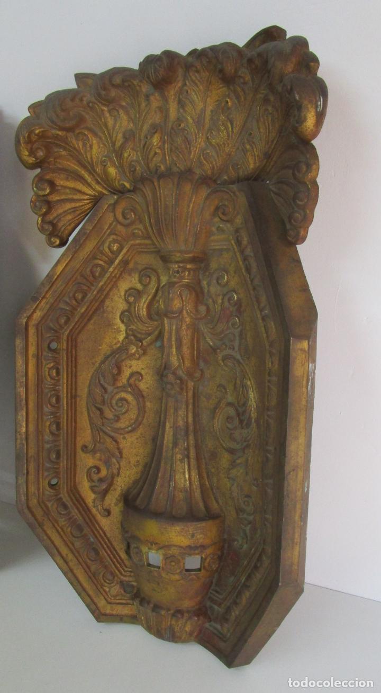 Antigüedades: Antigua Pareja de Paneles para Apliques, Decoración - Bronce Cincelado - 20 Kg Unidad - S. XIX - Foto 17 - 218560271