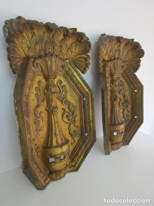 Antigüedades: Antigua Pareja de Paneles para Apliques, Decoración - Bronce Cincelado - 20 Kg Unidad - S. XIX - Foto 19 - 218560271