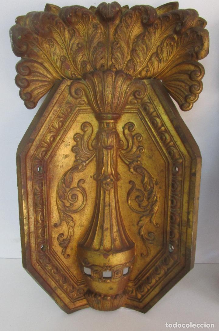 Antigüedades: Antigua Pareja de Paneles para Apliques, Decoración - Bronce Cincelado - 20 Kg Unidad - S. XIX - Foto 20 - 218560271