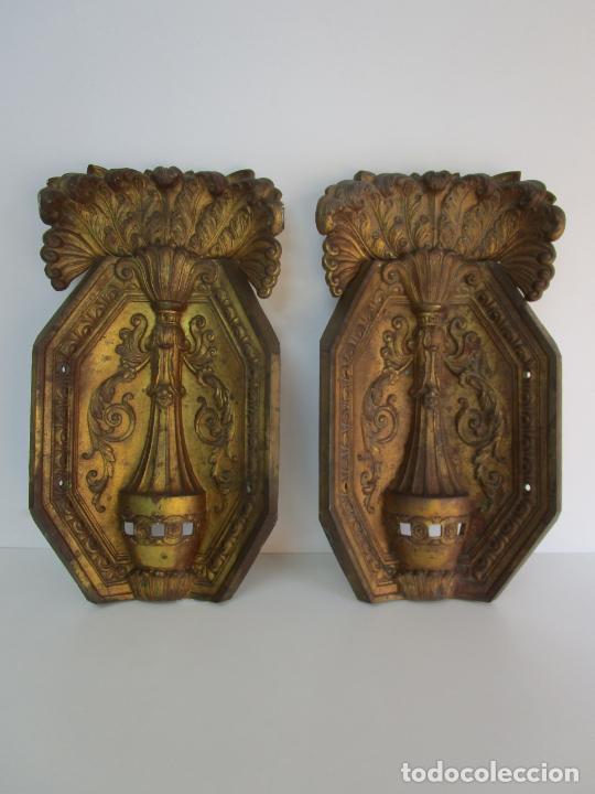 Antigüedades: Antigua Pareja de Paneles para Apliques, Decoración - Bronce Cincelado - 20 Kg Unidad - S. XIX - Foto 24 - 218560271
