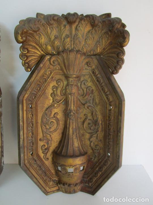 Antigüedades: Antigua Pareja de Paneles para Apliques, Decoración - Bronce Cincelado - 20 Kg Unidad - S. XIX - Foto 25 - 218560271