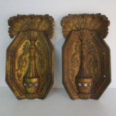 Antigüedades: ANTIGUA PAREJA DE PANELES PARA APLIQUES, DECORACIÓN - BRONCE CINCELADO - 20 KG UNIDAD - S. XIX. Lote 218560271