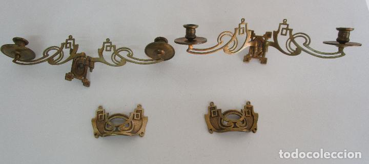 Antigüedades: Pareja de Candelabros y Asas de Piano - Art Nouveau - Bronce Cincelado - Foto 2 - 218563032