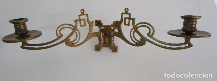 Antigüedades: Pareja de Candelabros y Asas de Piano - Art Nouveau - Bronce Cincelado - Foto 3 - 218563032