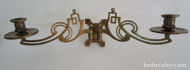 Antigüedades: Pareja de Candelabros y Asas de Piano - Art Nouveau - Bronce Cincelado - Foto 5 - 218563032