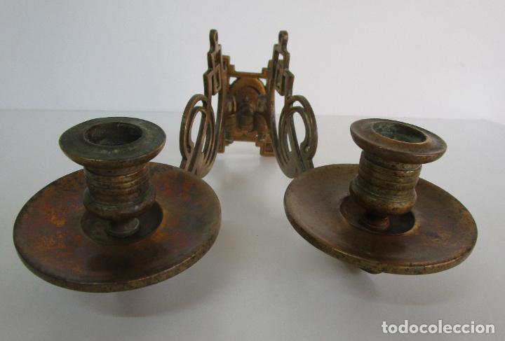 Antigüedades: Pareja de Candelabros y Asas de Piano - Art Nouveau - Bronce Cincelado - Foto 6 - 218563032