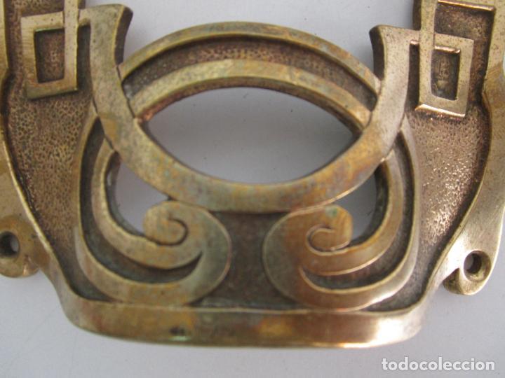 Antigüedades: Pareja de Candelabros y Asas de Piano - Art Nouveau - Bronce Cincelado - Foto 18 - 218563032