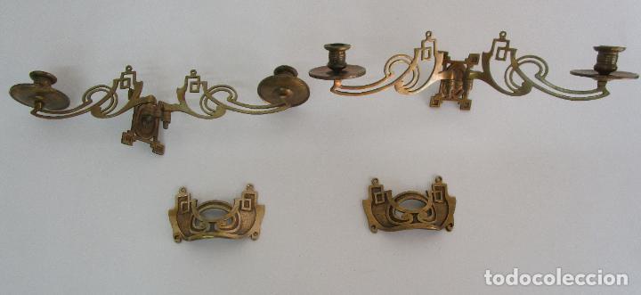 Antigüedades: Pareja de Candelabros y Asas de Piano - Art Nouveau - Bronce Cincelado - Foto 22 - 218563032