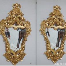 Antigüedades: PAREJA DE CORNUCOPIAS DORADAS ANTIGUAS. Lote 218579667