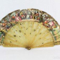 Antigüedades: ABANICO INDISCRETO. ASTA CALADA, LITOGRAFÍAS. CA 1850 - FLIRTING HAND FAN. HORN AND LITHOS. Lote 218582272