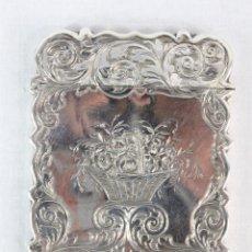 Antigüedades: TARJETERO CINCELADO. PLATA 800. BIRMINGHAN GW & CO. MEDIADOS SXIX. Lote 218590088
