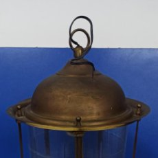 Antigüedades: ANTIGUO FAROL LAMPARA TECHO CON CRISTAL REDONDO BISELADO. Lote 218615636
