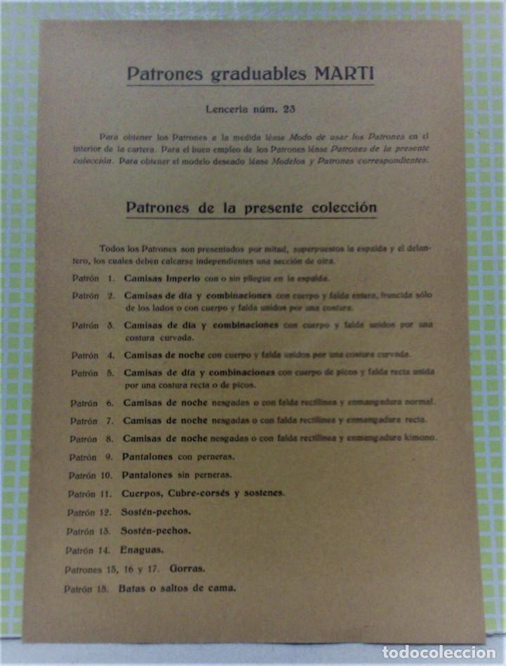 Antigüedades: PATRONES GRADUABLES MARTÍ .LENCERIA.CUADERNO,LÁMINAS,PATRONES Y GUIA.AÑOS 20 - Foto 9 - 218621617