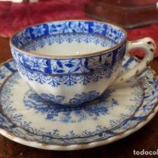 Antigüedades: TAZA Y PLATO CAFE DE CHINA=BLAU SAINTE C LAIRE. Lote 218668907