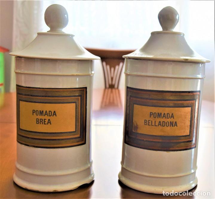 LOTE DOS TARROS DE FARMACIA ANTIGUOS 24 CM ALTURA POMADA BELLADONA Y POMADA BREA (Antigüedades - Porcelanas y Cerámicas - Otras)