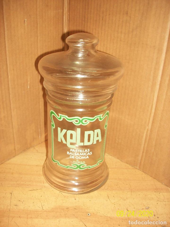ANTIGUO BOTE DE FARMACIA-PASTILLAS BALSAMICAS KELDA (Antigüedades - Cristal y Vidrio - Farmacia )