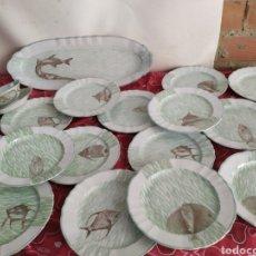 Antigüedades: IMPORTANTE VAJILLA DE PESCADO PORCELANA ANTIGUA DE LIMOGES. Lote 218714912
