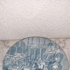 Antigüedades: ANTIGUO PLATO DE LOZA DECORACIÓN CARLOS SAENZ DE TEJADA. Lote 218726600