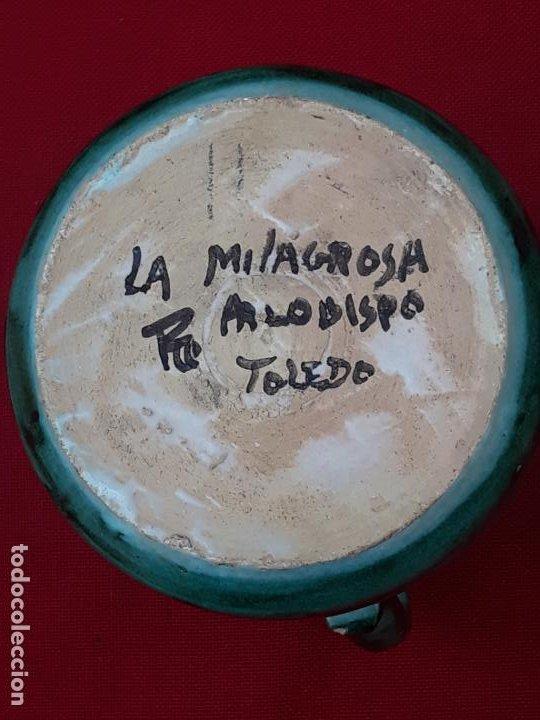 Antigüedades: 1 ) JARRA ANTIGUA EN CERAMICA PINTADA Y VIDRIADA DE PUENTE DEL ARZOBISPO ( TOLEDO ) - Foto 4 - 218738421