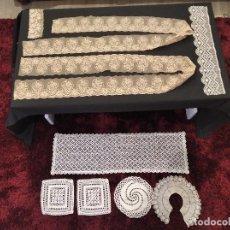 Antigüedades: ANTIGUEDADES TELAS DE ENCAJES Y BOLILLOS. Lote 218746528