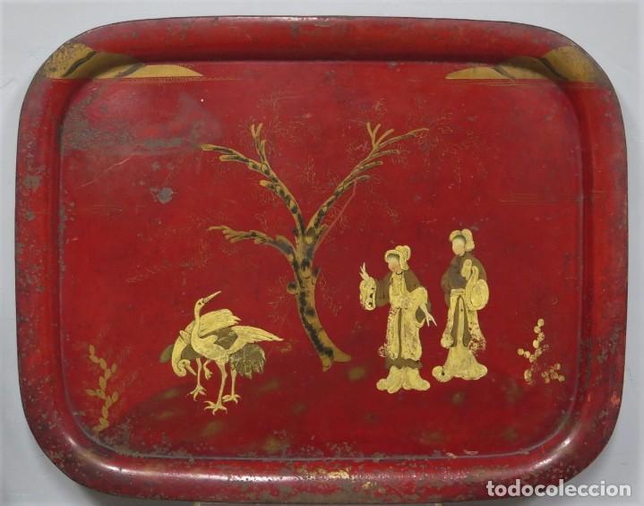 ANTIGUA BANDEJA LACADA. JAPON. SIGLO XIX. GRANDE (Antigüedades - Hogar y Decoración - Bandejas Antiguas)