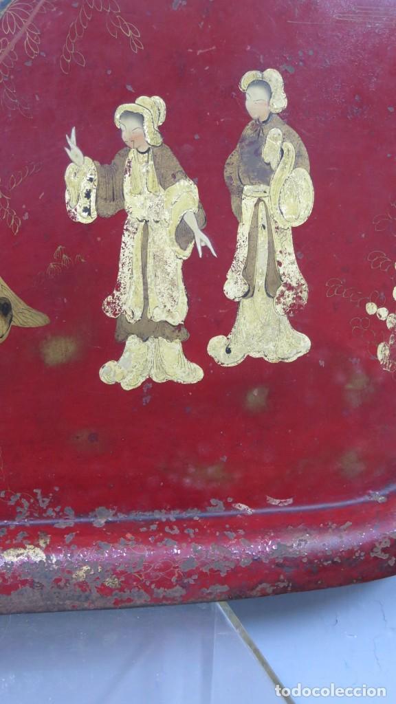 Antigüedades: ANTIGUA BANDEJA LACADA. JAPON. SIGLO XIX. GRANDE - Foto 6 - 218759756