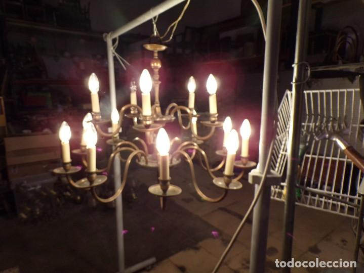 GRAN LAMPARA DE BRONCE DE TECHO 15 LUCES FUNCIONANDO (Antigüedades - Iluminación - Lámparas Antiguas)