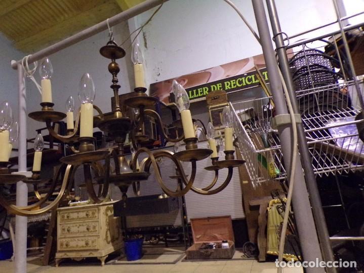 Antigüedades: gran lampara de bronce de techo 15 luces funcionando - Foto 2 - 218764427