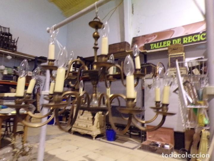 Antigüedades: gran lampara de bronce de techo 15 luces funcionando - Foto 4 - 218764427