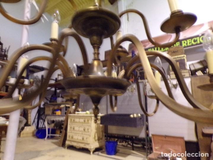 Antigüedades: gran lampara de bronce de techo 15 luces funcionando - Foto 5 - 218764427