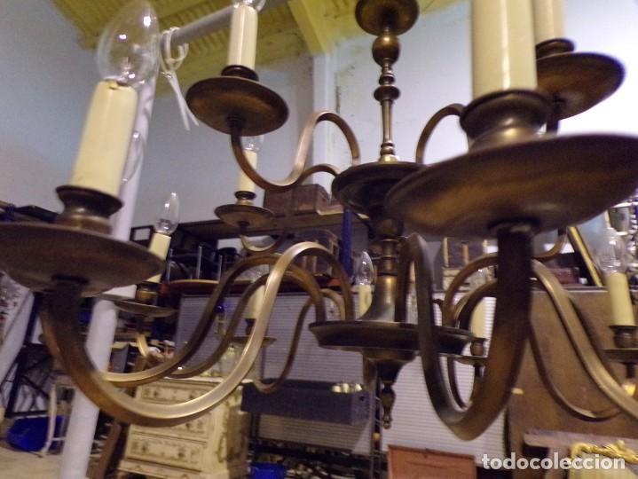 Antigüedades: gran lampara de bronce de techo 15 luces funcionando - Foto 6 - 218764427