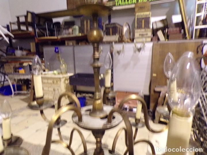 Antigüedades: gran lampara de bronce de techo 15 luces funcionando - Foto 7 - 218764427