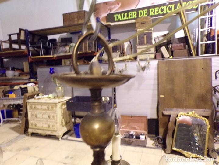 Antigüedades: gran lampara de bronce de techo 15 luces funcionando - Foto 8 - 218764427