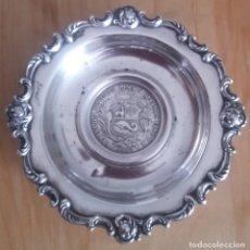 Antigüedades: CENICERO CON MONEDA DE UN SOL. PERÚ 1889 (75.45GR). Lote 218766811