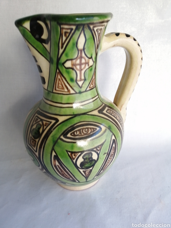 Antigüedades: Bonita jarra jarrón de ceramica antigua punter Teruel firmado - Foto 2 - 100594996