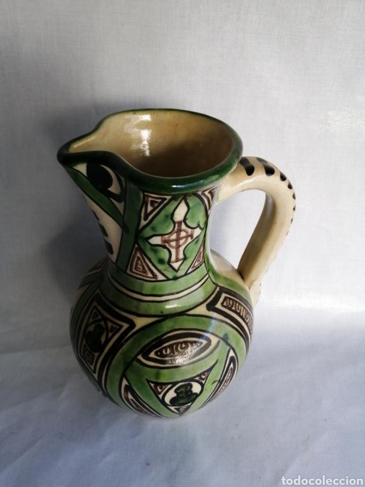 Antigüedades: Bonita jarra jarrón de ceramica antigua punter Teruel firmado - Foto 3 - 100594996