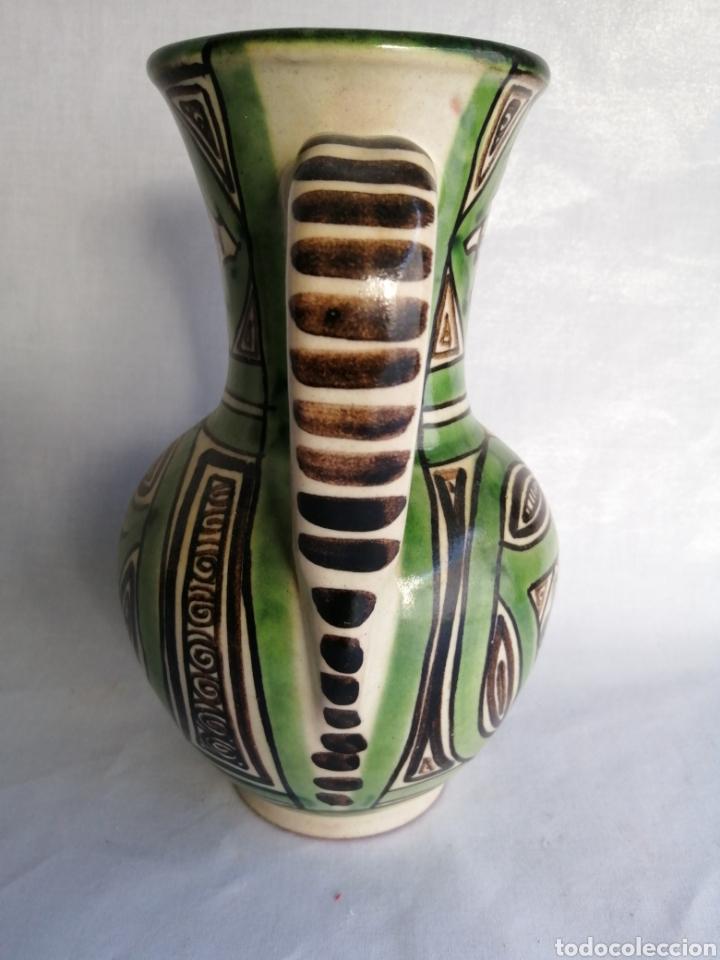 Antigüedades: Bonita jarra jarrón de ceramica antigua punter Teruel firmado - Foto 4 - 100594996